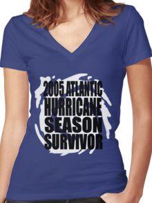 2005 Hurricane Season Survivor Women's Fitted V-Neck T-Shirt