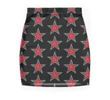 RED military uniform star distressed Mini Skirt