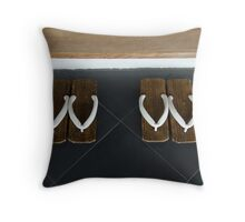 Geta at the Ryokan Throw Pillow