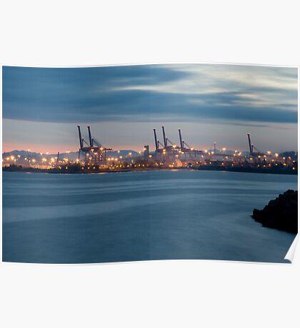 Seattle Industrial area Sunrise Poster