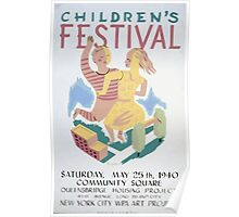 WPA United States Government Work Project Administration Poster 0229 Children's Festival Community Square New York City Poster