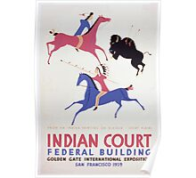 WPA United States Government Work Project Administration Poster 0409 Indian Court Federa Building Golden Gate International Exposition Great Plains Elk Skin Painting Poster
