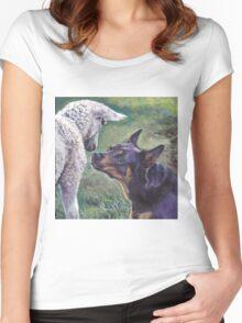 Australian Kelpie Fine Art Painting Women's Fitted Scoop T-Shirt