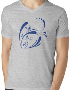 Cool Fish Grunge Twirls Mens V-Neck T-Shirt