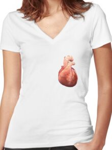Awesome Real Heart Women's Fitted V-Neck T-Shirt