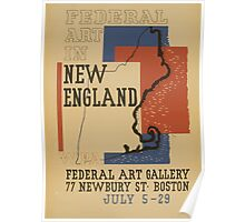 WPA United States Government Work Project Administration Poster 0864 Federal Art In New England Poster