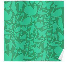 abstract green animals ,vector illustration Poster