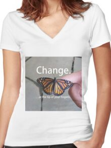 Change.  Women's Fitted V-Neck T-Shirt