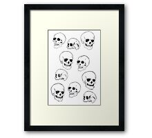 Black Line Skulls illustration drawing Framed Print
