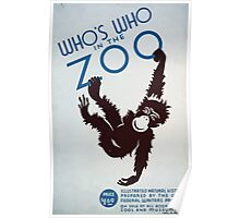 WPA United States Government Work Project Administration Poster 0231 Who's Who in the Zoo Illustrated Natural History Poster