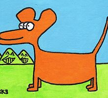 Orange Three-Eyed Dog by Robert Burke