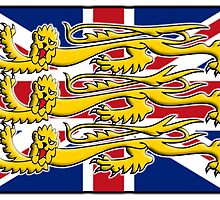 BRITISH PATRIOT, Royal Banner of England, England, Union Jack, Three Lions, 3 Lions, English, British, Britain, UK, RED by TOM HILL - Designer