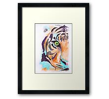'Tiger in Blue' Watercolour painting Framed Print