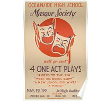 WPA United States Government Work Project Administration Poster 0637 Masque Society Four One Act Plays Poster
