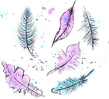 Simple Feather Watercolour Design by gsaundersart