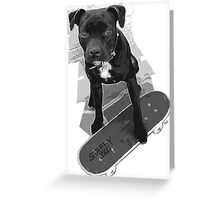 SK8 Staffy Dog black and white Greeting Card