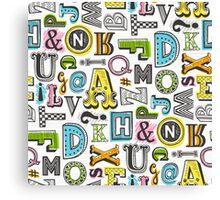 Alphabet Letters Doodle Canvas Print