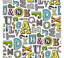 Alphabet Letters Doodle Photographic Print