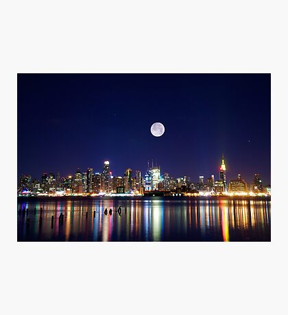 NYC skyline at night from New Jersey Photographic Print