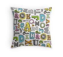 Alphabet Letters Doodle Throw Pillow