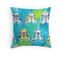 Watercolour Budgies Throw Pillow