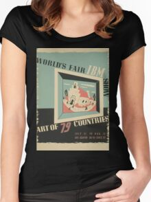 WPA United States Government Work Project Administration Poster 0744 World's Fair IBM Show Women's Fitted Scoop T-Shirt