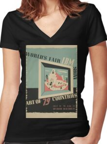 WPA United States Government Work Project Administration Poster 0744 World's Fair IBM Show Women's Fitted V-Neck T-Shirt