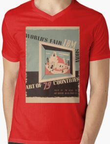 WPA United States Government Work Project Administration Poster 0744 World's Fair IBM Show Mens V-Neck T-Shirt