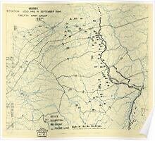 World War II Twelfth Army Group Situation Map September 11 1944 Poster