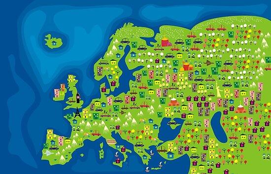 cartoon map of europe by Anastasiia Kucherenko