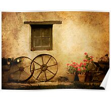 wheels & red geraniums Poster
