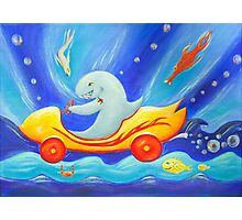 Funky shark racing underwater in a sports car Photographic Print