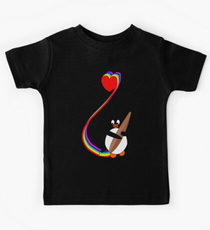 Penguin Painting with Rainbow Kids Tee