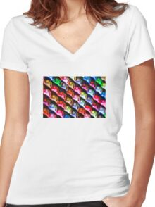 Colourful metallic background Women's Fitted V-Neck T-Shirt
