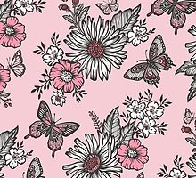 Butterflies in a Sunny Garden by CajaDesign