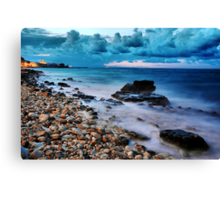 Seascape rocks sea and clouds at sunset - Italy Canvas Print