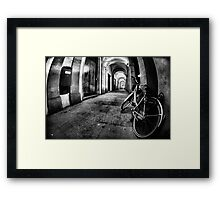 Fisheye Night Cityscape Bicycle Arches and lights - Italy Framed Print
