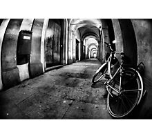 Fisheye Night Cityscape Bicycle Arches and lights - Italy Photographic Print