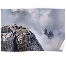 Dolomiti peaks in the clouds Poster