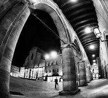 Fisheye Urban CityScape from Arcades of Bologna Italy by Francesco Malpensi