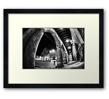 Fisheye Urban CityScape from Arcades of Bologna Italy Framed Print