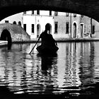 Rowing Boat reflections under a bridge by Francesco Malpensi