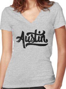Brush Script Austin, Texas Women's Fitted V-Neck T-Shirt