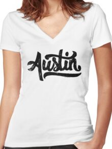 Brush Script Austin, Texas Women's Fitted V-Neck T-Shirt