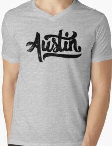 Brush Script Austin, Texas Mens V-Neck T-Shirt