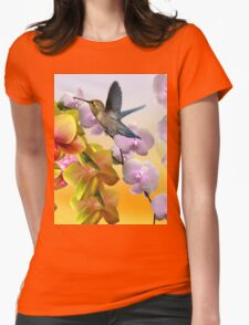 Hummingbird And Orchids Womens Fitted T-Shirt