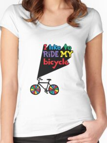 I like to ride my bicycle  Women's Fitted Scoop T-Shirt