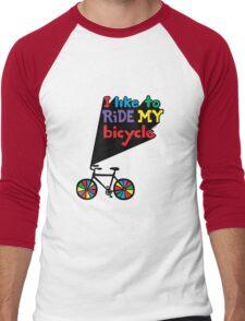 I like to ride my bicycle  Men's Baseball ¾ T-Shirt