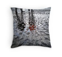 Reflections in the Rippled Sand at the Oregon Coast Throw Pillow
