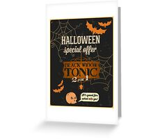 Halloween faux advertisement black widow tonic Greeting Card